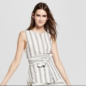 Who what wear striped sleeveless wrap shirt